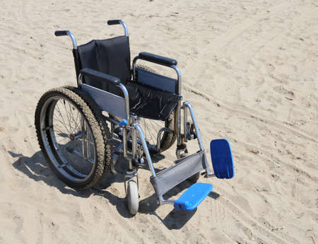 aluminum wheels: robust wheelchair made of aluminum with special dual wheels on the beach