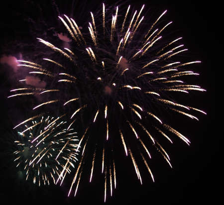 pyrotechnics: show with large colorful fireworks in the dark sky