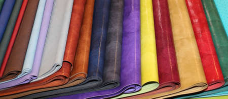 hides: many colored faux leather pieces for sale in the shop