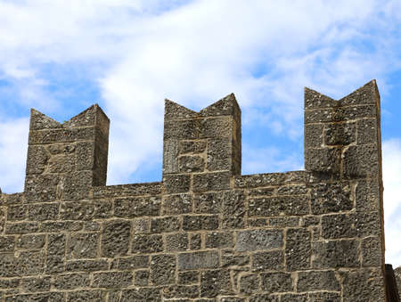 crenelation: particular of the battlements of the Tower of the medieval castle