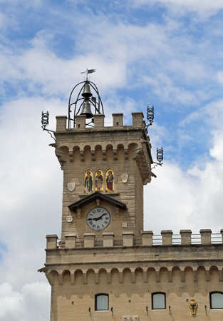 crenelation: Ancient clock tower in the Palace of the Government called Palazzo Pubblico of San Marino