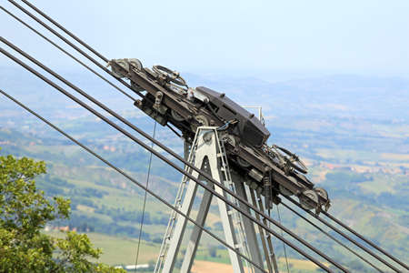 poleas: thick steel cables and pulleys for the Transportation cableway in the mountains