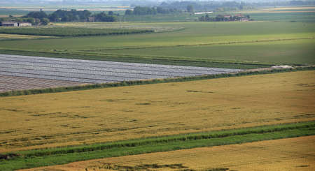 the po valley: aerial view of the plain with fields in the po plain valley in italy Stock Photo