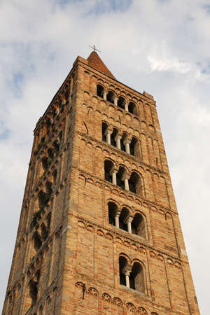 the po valley: ancient Pomposa abbey bell tower historical building in the Po valley