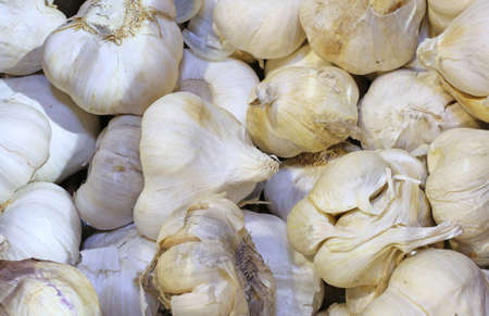 greengrocer: many background cloves of garlic for sale at the greengrocer