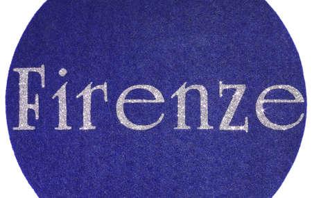 firenze: firenze Written of an Italian City on blue fabric background