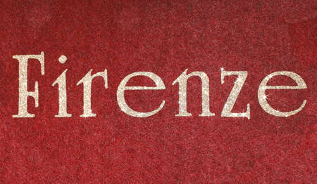 firenze Written of an Italian City on fabric background and characters in glitter