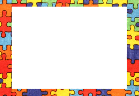 blanck: puzzle pieces frame with blanck space to write your text