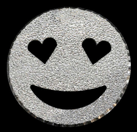 big silver glitter  face with heart-shaped eyes