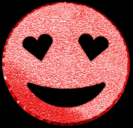 big red smiling face shining with heart-shaped eyes on black background