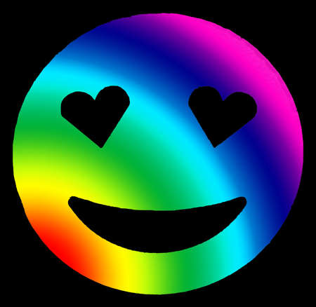 multicolored smiling face shining with heart-shaped eyes on black