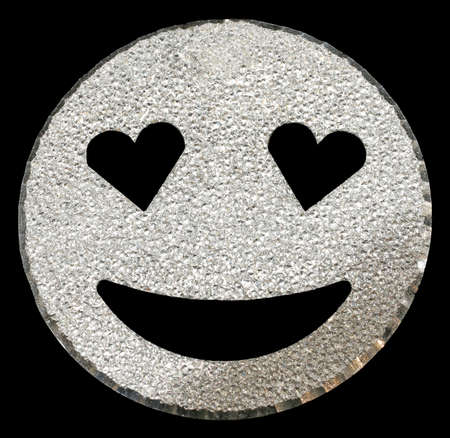 big silver face shining with heart-shaped eyes