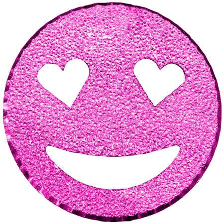 purple big smiling face shining with heart-shaped eyes Stock Photo