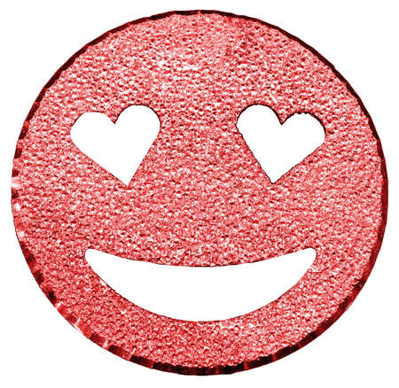 red big smiling face shining with heart-shaped eyes Stock Photo