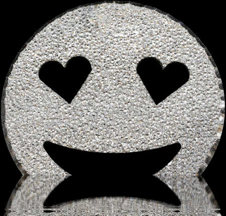 big silver smiling face shining with heart-shaped eyes on the water