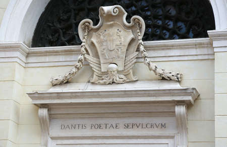 poet: Inscription in Latin which means the tomb of the poet Dante in the City of Ravenna in Italy