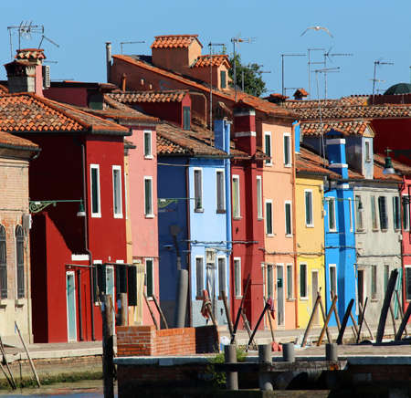 colored houses on Canal in Burano island near Venice in northen Italy