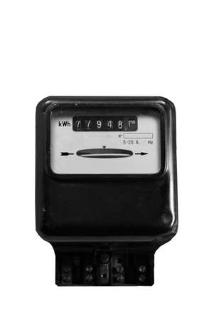 electricity meter: electromechanical electricity meter with the white background