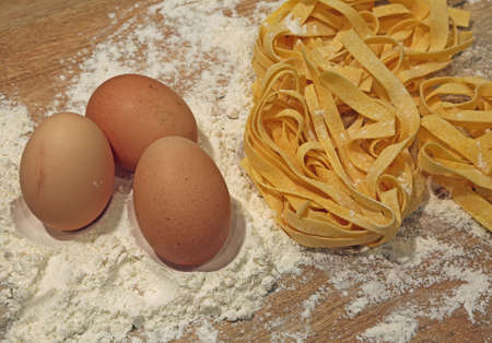 pastasciutta: three natural ingredients flour and eggs homemade pasta in the tradition of Italian cuisine