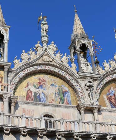 patriarchal: Details of the mosaics in the facade of Basilica of Saint Mark in Venice