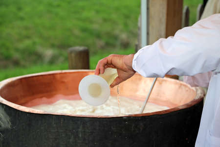 rennet: cheesemaker pour rennet into the great copper cauldron to make cheese in the dairy