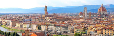 abodes: everything in focus in the wide panorama of the city of Florence with highly saturated colors Stock Photo