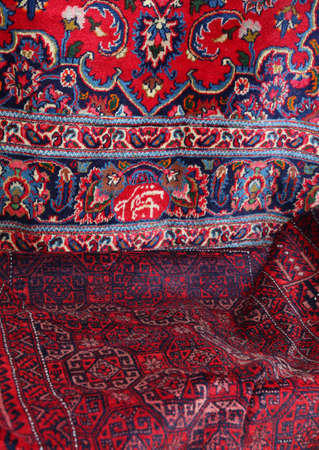 precious Oriental rugs for sale at Eastern market Stock Photo