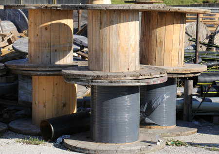 repurpose: wooden reels for electrical cables in landfill