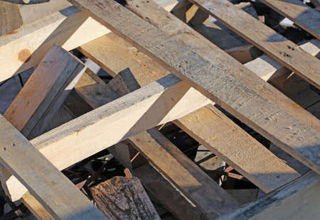 repurpose: many wooden pallets in a woody material landfill