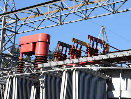 or electrocution: particular of a voltage transformer in a power plant