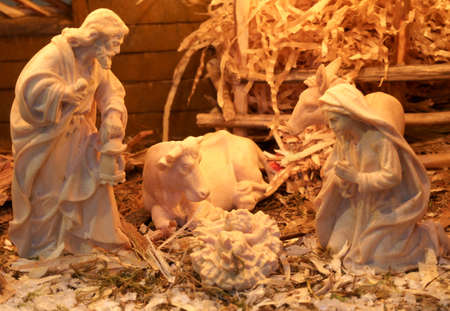 traditional nativity scene with St. Joseph and the Virgin Mary and the infant Jesus Stock Photo
