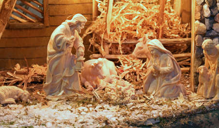 presepio: traditional nativity scene with St. Joseph and the Virgin Mary and the infant Jesus in the manger