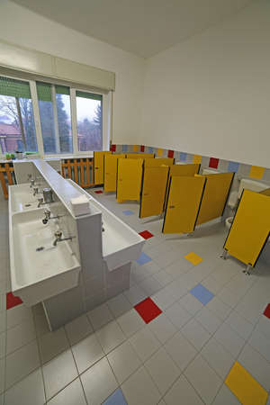 bathroom  for little children in the preschool without people
