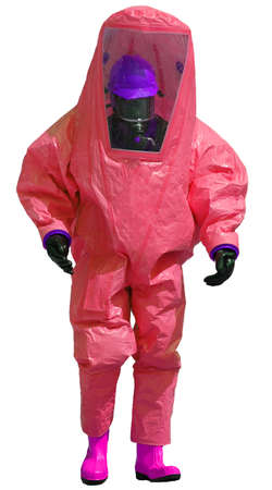 radiation protection suit: person with protective red protective suit against the biohazard on white background Stock Photo