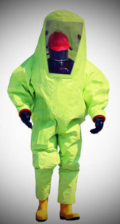 protective suit: man with protective suit against the biohazard Stock Photo