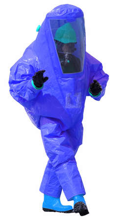 person with blue protective suit with breathing apparatus and anti contamination filters against biohazard and white background Stock Photo