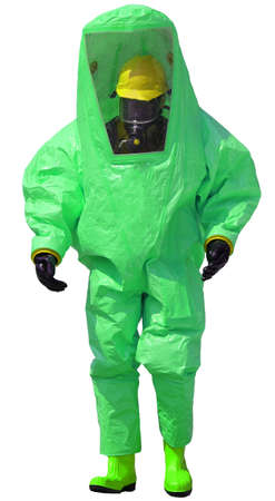 protective suit: person with protective green suit with breathing apparatus and anti contamination filters against biohazard and white background