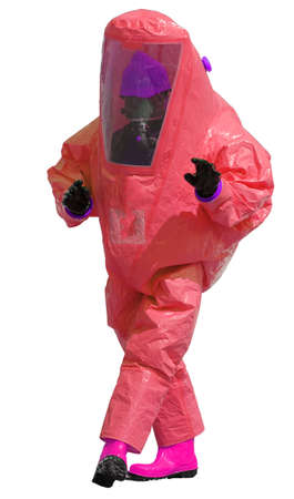radiation protection suit: person with red protective suit with breathing apparatus and fuchsia boots high visibility and anti contamination filters against biohazard and white background