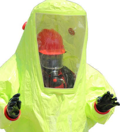 radiation protection suit: man with protective yellow suit and white background Stock Photo