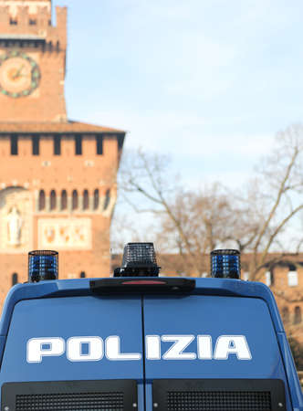 outcry: armored police van in front of the Castello Sforzesco in Milan to patrol against terrorist attacks in Italy