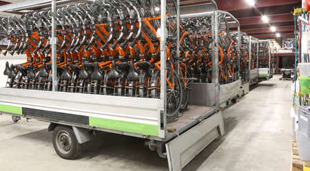 inside a huge warehouse of bicycles for tourists