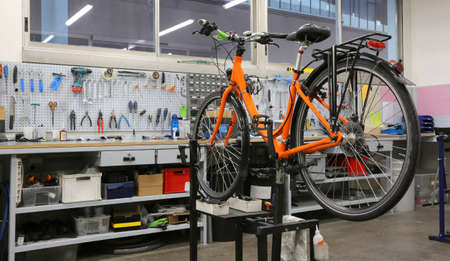 repairing: wide and well-equipped workshop for repairing bicycles