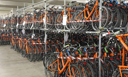 Vicenza, VI, Italy - January 1st, 2017: huge warehouse with thousands of bicycles of the company Girolibero the principal european tour operator specialising in cycling holidays Editorial