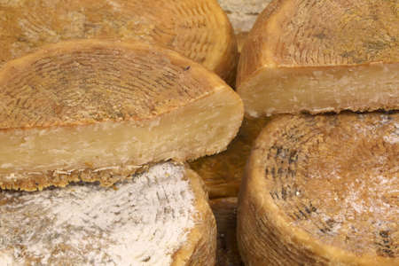 Wielen van oude kaas te koop in de melkveehouderij