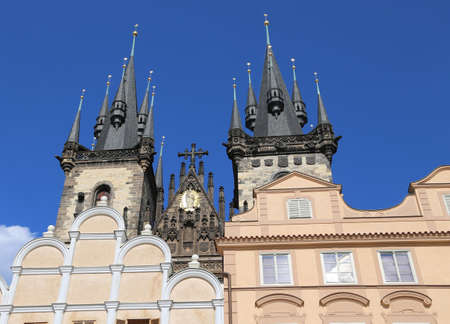ceska: Church of Our Lady before Tyn from Old Town Square in Prague Czech Republic Europe