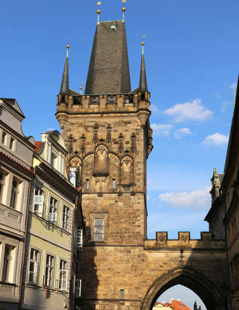 tower  of the Charles Bridge in Prague Old Town in Czech Republic