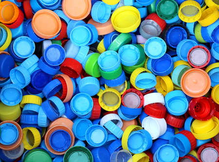 repurpose: collection of many plastic caps for recycling the material and does not pollute the environment