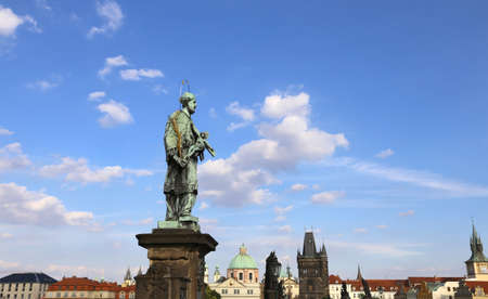 martyrdom: statue of John of Nepomuk at Charles Bridge in Prague at the site where the saint was thrown into Vltava River