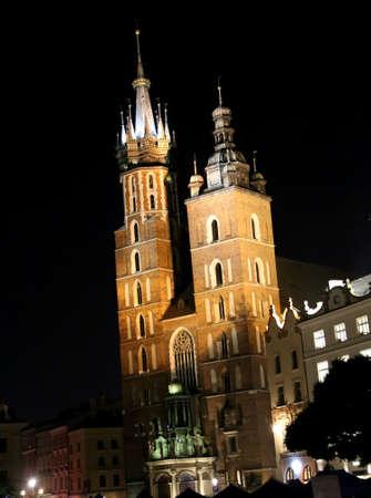 St Marys Basilica in Krakow Poland by night 版權商用圖片