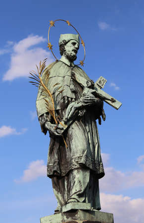 statue of John of Nepomuk saint martyr in Czech Republic and in all Europe Stock Photo